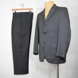 vintage 50's wool suit 36 striped fleck 3 button